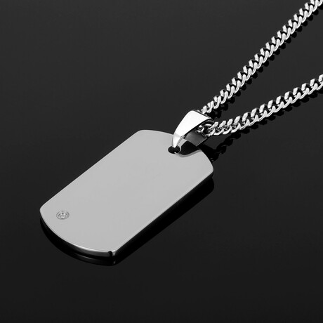 """Polished Diamond Accent Tungsten Carbide Dog Tag // 24"""" (Silver)"""