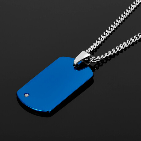 Polished Tungsten Carbide 0.02 CTW Diamond Accent Dog Tag