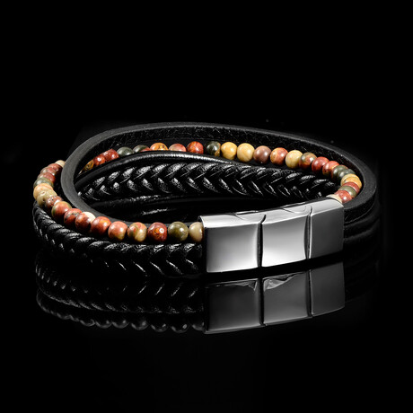 Picasso Jasper Stone + Leather Bracelet // Black