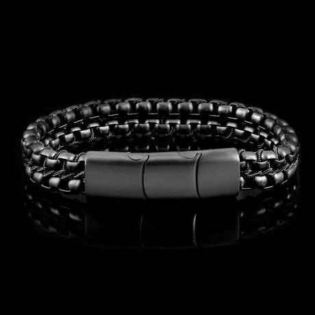 Matte Finish Stainless Steel Double Row Box Chain Bracelet // Black