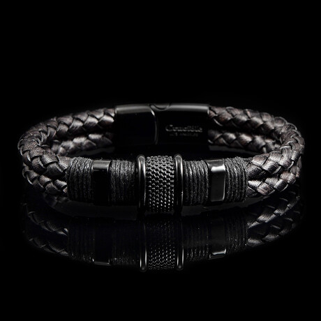 Stainless Steel Accents + Nylon Cord Braided Leather Bracelet // Brown + Black