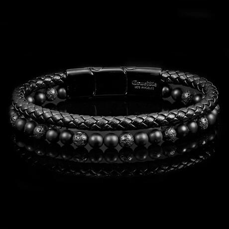 Matte Black Agate + Lava Leather Bracelet // Black