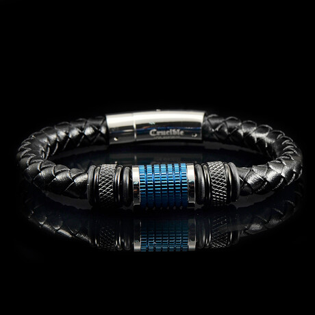 Stainless Steel Accents Leather Bracelet // Black + Blue