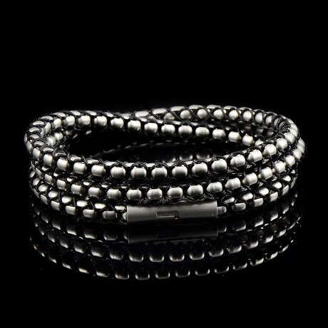 Matte Finish Stainless Steel Box Chain + Nylon Cord Rope Necklace // 6mm