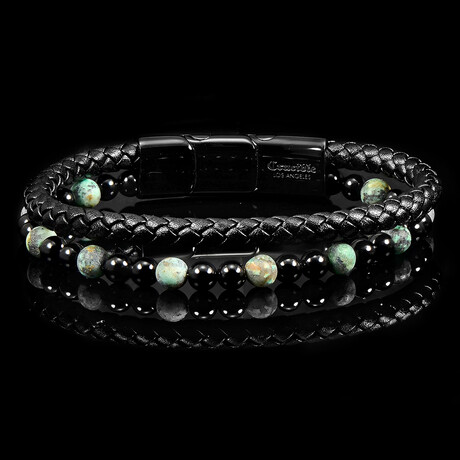 African Turquoise Stone + Onyx Stone Leather Bracelet // Black