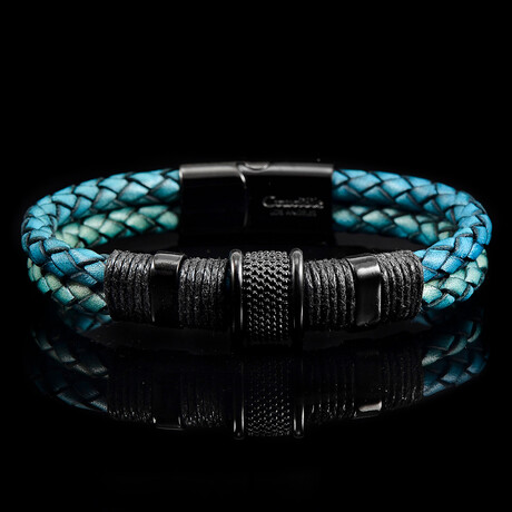 Stainless Steel Accents + Nylon Cord Distressed Turquoise Leather Bracelet // Blue + Black