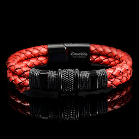 Stainless Steel Accents Distressed Leather Bracelet // Red + Black