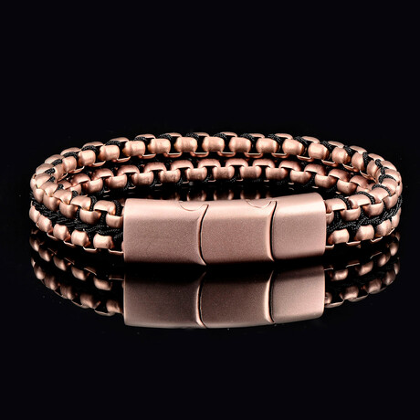 Matte Finish Stainless Steel Double Row Box Chain Bracelet // Rose Gold