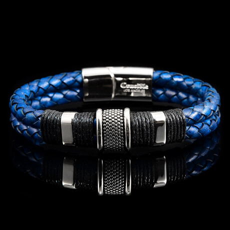 Polished Stainless Steel Accents Braided Leather Bracelet // Blue