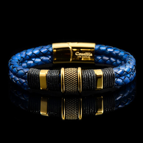 Stainless Steel Accents + Nylon Cord Leather Bracelet // Navy Blue + Gold + Black
