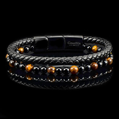Tiger's Eye Stone + Onyx Stone + Black Leather Bracelet // Brown