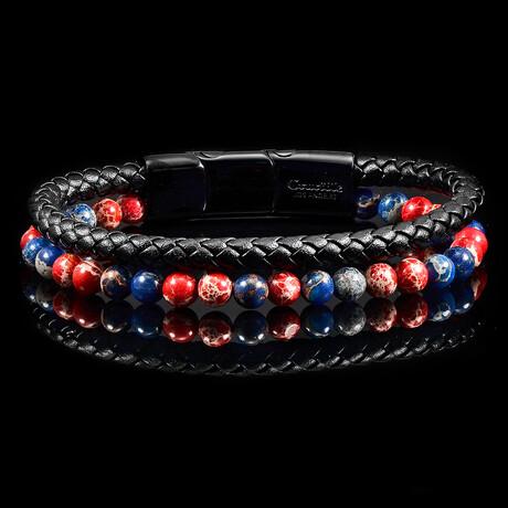 Imperial Jasper + Leather Bracelet // Blue + Red + Black