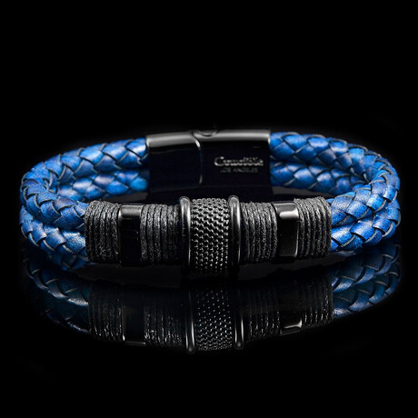 Stainless Steel Accents Braided Leather Bracelet // Navy Blue + Black
