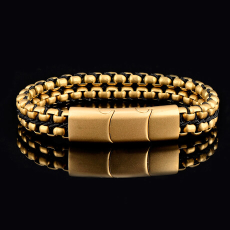 Matte Finish Stainless Steel Double Row Box Chain Bracelet // Gold
