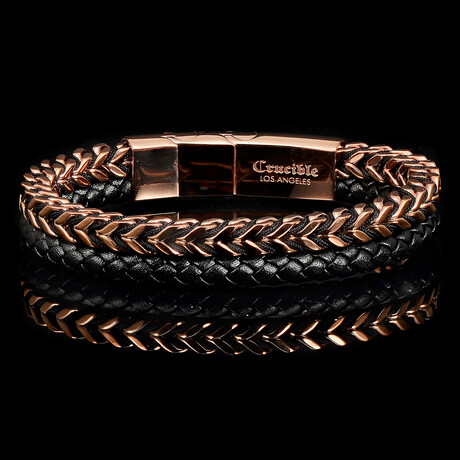Stainless Steel Franco Chain + Leather Bracelet // Rose Gold