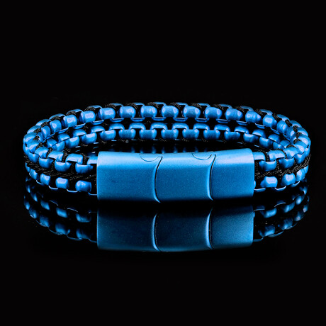 Matte Finish Stainless Steel Double Row Box Chain Bracelet // Blue