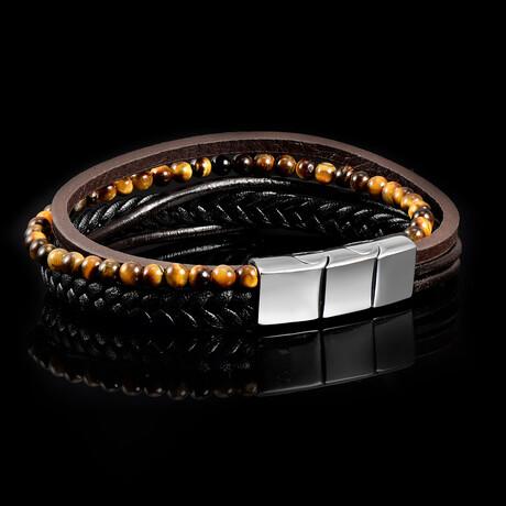 Tiger's Eye Stone + Leather Bracelet // Black + Brown