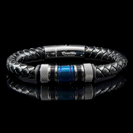 Stainless Steel Accents Leather Bracelet // Silver + Blue + Black