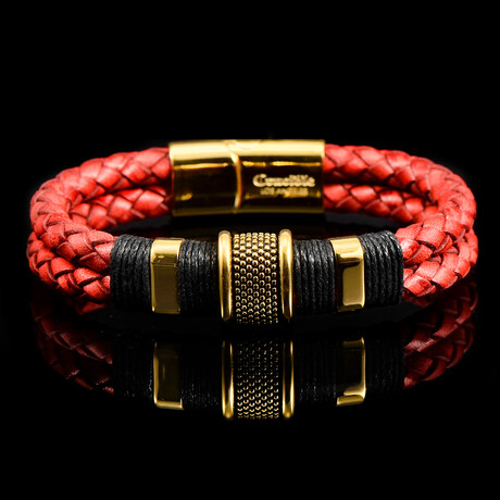 Stainless Steel Accents + Nylon Cord Distressed Leather Bracelet // Red + Gold + Black