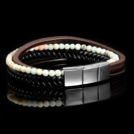 Amazonite Stone + Leather Bracelet // Black + Brown