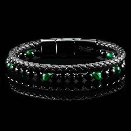 Tiger's Eye Stone + Onyx Stone + Black Leather Bracelet // Green