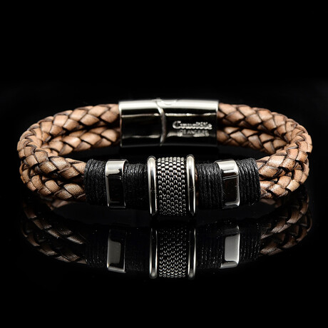 Polished Stainless Steel Accents Distressed Leather Bracelet // Light Brown