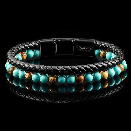 Picture Jasper + Turquoise + Leather Bracelet // Black