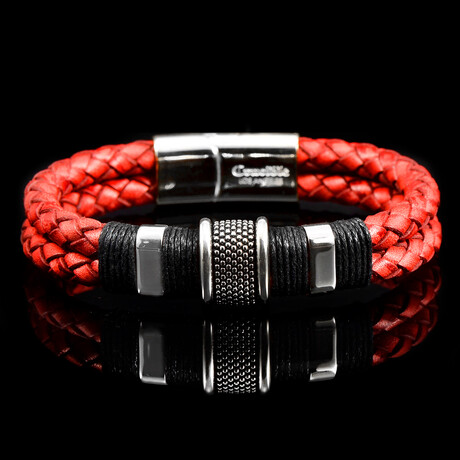 Polished Stainless Steel Accents Distressed Leather Bracelet // Red
