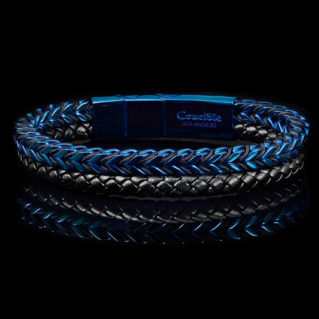 Stainless Steel Franco Chain + Leather Bracelet // Blue