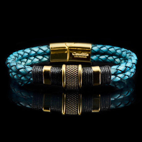 Stainless Steel Accents + Nylon Cord Distressed Turquoise Leather Bracelet // Blue + Gold + Black