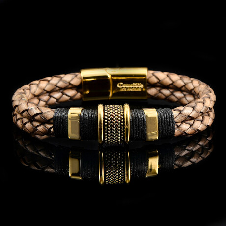 Stainless Steel Accents + Nylon Cord Distressed Leather Bracelet // Brown + Gold + Black