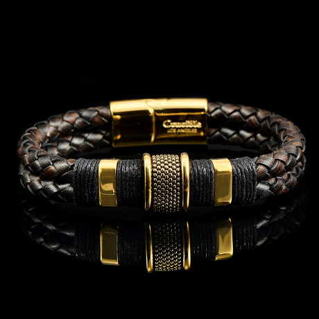 Stainless Steel Accents + Nylon Cord Leather Bracelet // Brown + Gold + Black