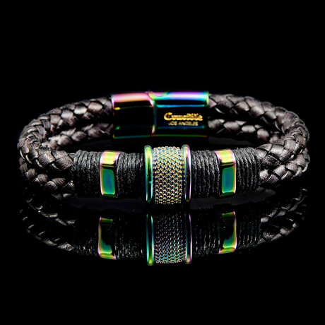 Stainless Steel Accents + Nylon Cord Leather Bracelet // Black + Iridescent