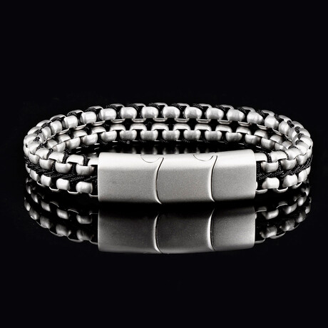 Matte Finish Stainless Steel Double Row Box Chain Bracelet // Silver