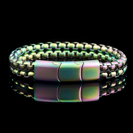 Matte Finish Stainless Steel Double Row Box Chain Bracelet // Iridescent