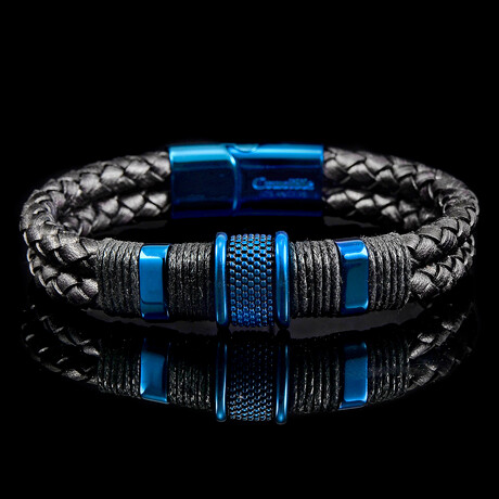 Stainless Steel Accents + Nylon Cord Leather Bracelet // Black + Blue