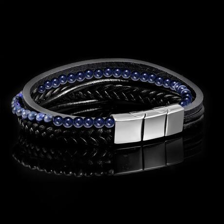 Lapis Lazuli Stone + Leather Bracelet // Black