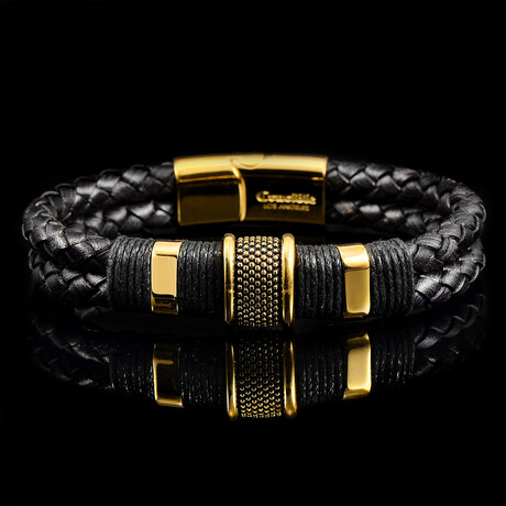 Stainless Steel Accents + Nylon Cord Leather Bracelet // Black + Gold