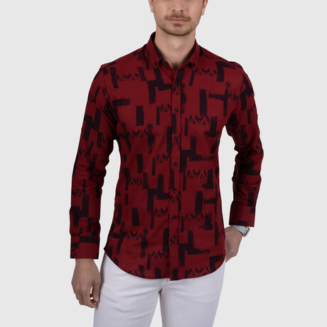 Brush Patterned Slim Fit Shirt // Red (Small)