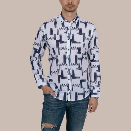Brush Patterned Slim Fit Shirt // White (Small)