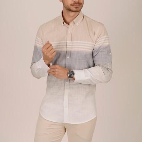 Paneled Slim Fit Shirt // Beige + Gray (Small)