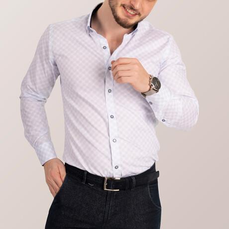Lozenge Patterned Lycra Shirt // White + Navy Blue (Small)