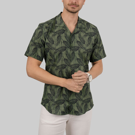 Palm Patterned Short Sleeve Slim Fit Shirt // Green (Small)