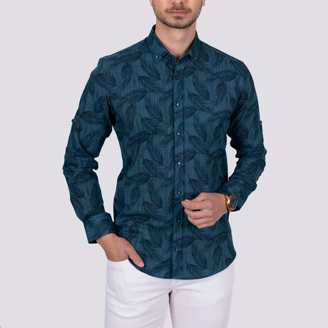 Palm Patterned Slim Fit Shirt // Indigo (Small)
