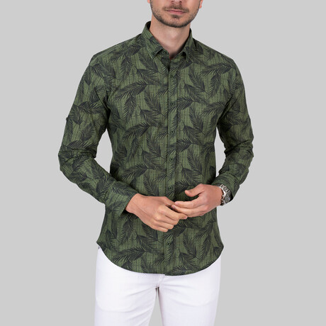 Palm Patterned Slim Fit Shirt // Green (Small)