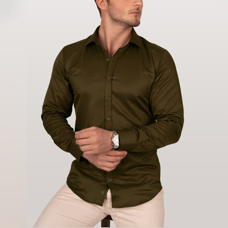 Dobby Slim Fit Shirt // Olive Green (Small)