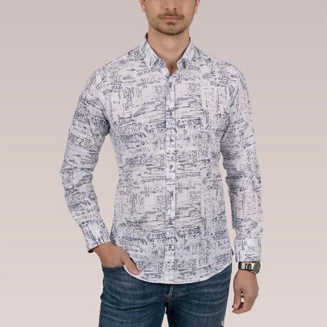 Written Shirt // White + Navy Blue (Small)