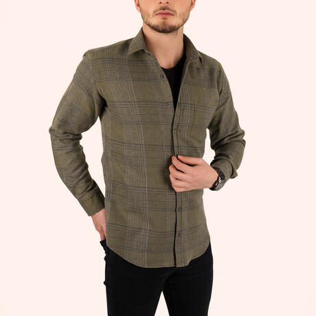 Striped Slim Fit Lumberjack Shirt // Khaki (Small)