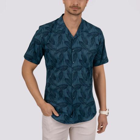 Palm Patterned Short Sleeve Slim Fit Shirt // Indigo (Small)