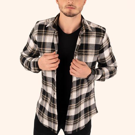 Checkered Winter Lumberjack Shirt // Brown + White (Small)